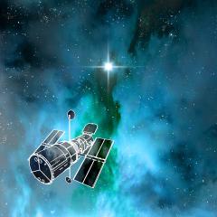 Hubble and Super Nova - Senarius. #Hubble, #space telescope, #nasa, #esa, #star, #spacecraft, #astronautics, #digitalart, #spaceart, #scifi, #astronomy