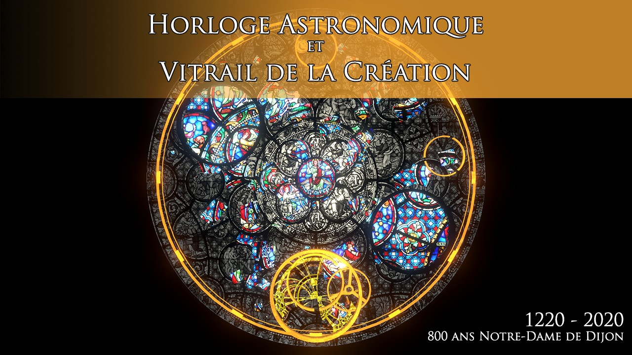 Astronomical Clock and Creation Stained Glass, in Dijon (France)